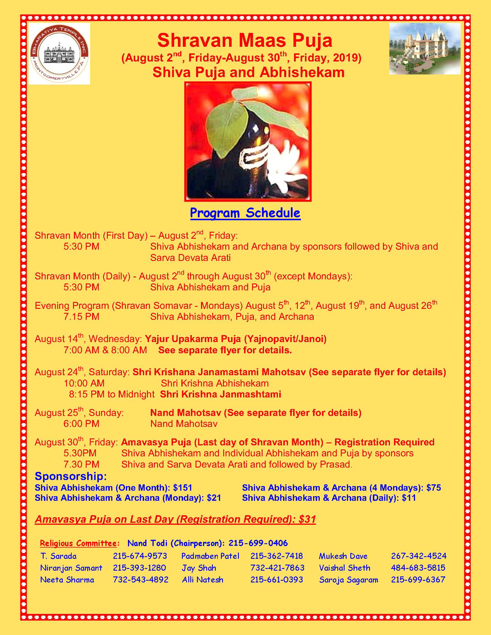 Shravan MaasAug-2nd to 30th - Bharatiya Temple Bharatiya Temple